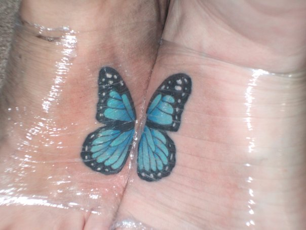 foot tattoo blue butterfly